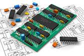 Placa de circuito digital com microchips — Foto Stock