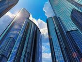 Blauwe zakelijke gebouwen — Stockfoto