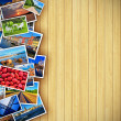 Photos on wooden background — Stockfoto