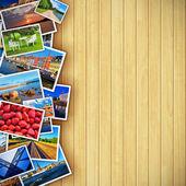 Fotos em fundo de madeira — Foto Stock