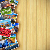 Photos on wooden background — Stock Photo