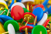 Macro view of color pushpins — Stock Photo