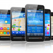 Set of touchscreen smartphones — Stock Photo