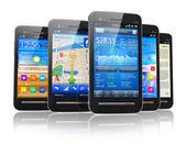 Conjunto de los smartphones con pantalla táctil — Foto de Stock