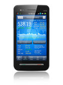 Smartphone with stock market application — Stock Photo