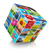 Cube with photo collection — Stock Photo