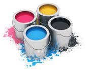 Cans with CMYK paint — Stock Photo