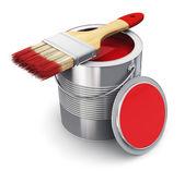 Může s červenou barvou a štětcem — Stock fotografie
