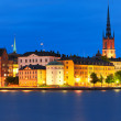 Night scenery of the Old Town in Stockholm, Sweden — Stock Photo