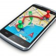 GPS navigation in smartphone - Stock Photo