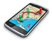 Navigazione gps in smartphone — Foto Stock