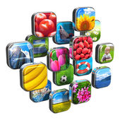 Colorful icons with pictures — Stock Photo