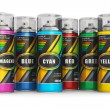 Stock Photo: Color spray paint cans
