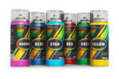 Color spray paint cans — Stock Photo