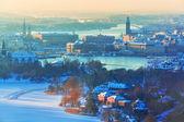 瑞典斯德哥尔摩的冬天空中风光 — 图库照片