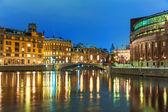 冬天的夜晚风光的瑞典斯德哥尔摩 — 图库照片