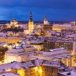Stock Photo: Winter night aerial scenery of Tallinn, Estonia