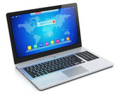 Moderno laptop com interface azul — Fotografia Stock