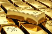 Hromádky zlaté cihly — Stock fotografie