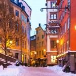 Зима в Старом городе в Стокгольме, Швеция — Стоковое фото