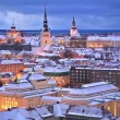 Stock Video: Winter night aerial scenery of Tallinn, Estonia