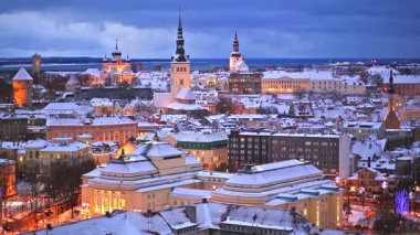 Winter night aerial scenery of Tallinn, Estonia — Stock Video