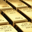 Moving stacks of gold bars — Vídeo de stock