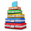 Stack of color travel cases — Stock Photo #19350037