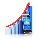 Concept mobile, banque et finance — Photo