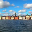 Stock Video: Scenic zoom panorama of the Old Town (Gamla Stan) in Stockholm, Sweden