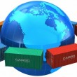 Worldwide shipping concept: seamless loop video of row of color cargo containers around the blue Earth globe isolated on white background — Stockvideo