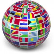 Rotating sphere with world flags isolated on white background — Stockvideo