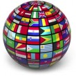 Rotating sphere with world flags isolated on white background — Stock Video