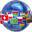 Rotating Earth globe with world flags isolated on white background — Stock Video #20352289