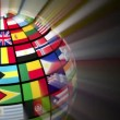 Global communication concept: glowing rotating globe with world flags on black background — Stock Video #20352301