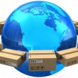Stock Video: Worldwide shipping concept: row of cardboard boxes around blue Earth globe isolated on white background