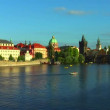 Vltava river and Charles Bridge in Prague — Stok video