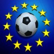 Rotating soccer ball on European Union flag — Stok Video #20352419
