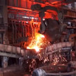 Stock Video: Pouring of liquid metal at the metallurgical plant