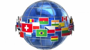 Rotating Earth globe with world flags isolated on white background — Stock Video