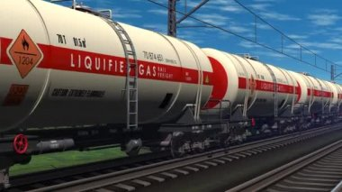 Freight train with petroleum tank cars passing by — Stock Video