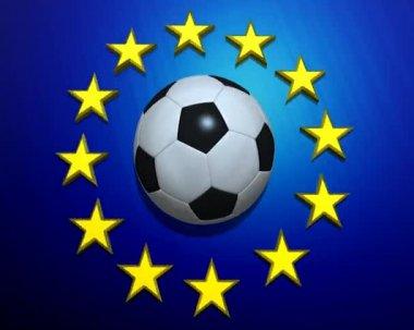 Rotating soccer ball on European Union flag — Stock Video