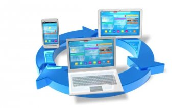 Cloud computing and wireless networking concept: white tablet PC, smartphone and laptop connected with blue round arrows isolated on white background with alpha matte — Stock Video