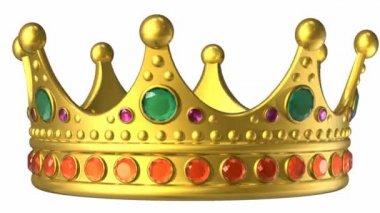 Girando a coroa real de ouro isolada no fundo branco com máscara alfa — Vídeo stock