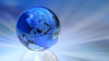 Rotating transparent glass Earth globe loop — Stock Video