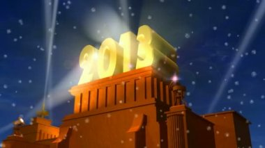 "New Year 2013 celebration caption: shiny golden ""2013"" on pedestal in a snowy weather — Stock Video #20352483"