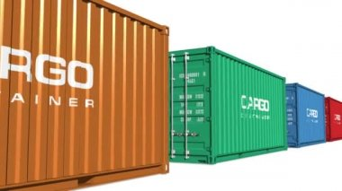 Freight shipping concept: color moving cargo containers — Stock Video