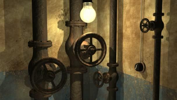 Interior 3d metro Grunge con lámpara de balanceo — Vídeo de stock