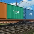 Freight train with cargo containers passing by — Stock Video