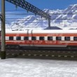 Wonderful scenery of high speed train passing railway station in high snowy mountains — Stock Video